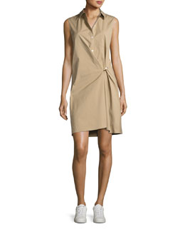 Lenmana Stretch-Cotton Sleeveless Shirtdress, Beige