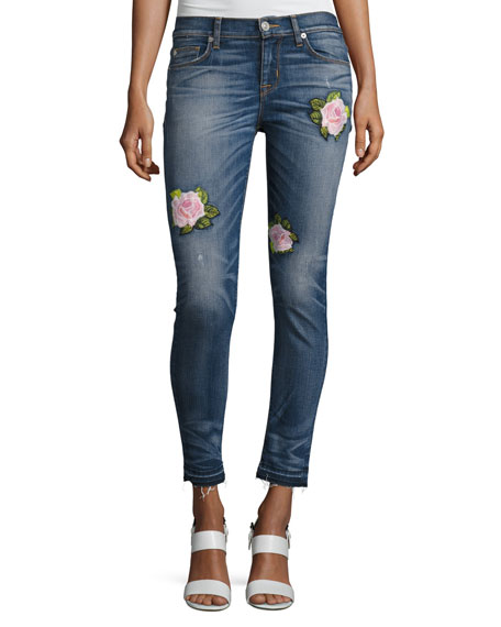 Nico Mid-Rise Super Skinny Release-Hem Jeans with Rose Embroidery, Indigo