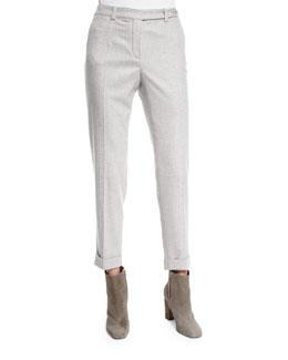 Jari Speckled Flannel Cuffed Pants, Dark Gray Melange