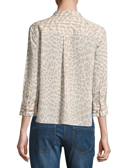 Leopard-Print 3/4-Sleeve Cropped Slim Signature Silk Shirt, Natural Pink