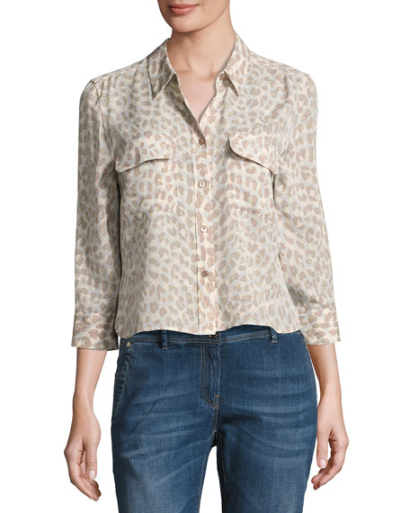 Leopard-Print 3/4-Sleeve Cropped Slim Signature Silk Shirt,
