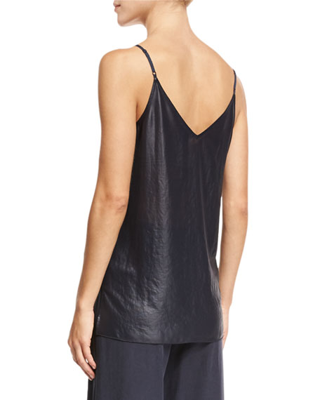 Lacquered Crepe V-Neck Camisole, Navy