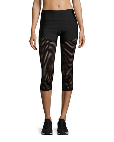 Half & Half Mesh Capri Performance Leggings, Black