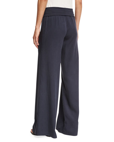 Wide-Leg Yoga Pants, Indigo