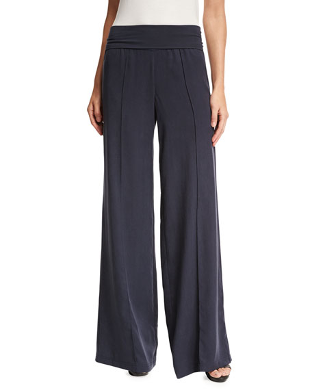 Wide-Leg Yoga Pants, Indigo