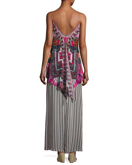Low-Back Layered Maxi Dress, Straight & Narrow