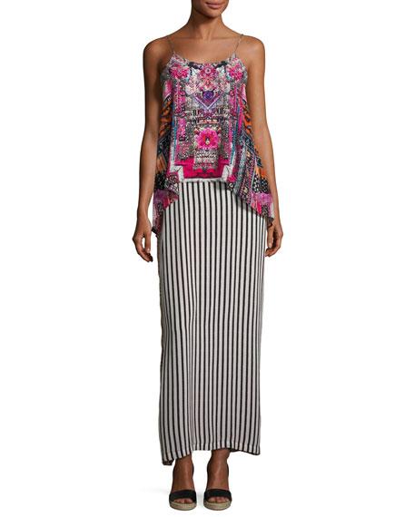 Low-Back Layered Maxi Dress, Straight & Narrow