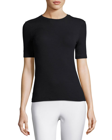 Short-Sleeve Ribbed Stretch Jersey Tee, Black