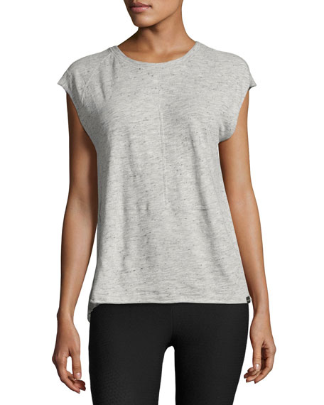 Koral Activewear Dismount Cutout-Back Muscle Top, Light Gray