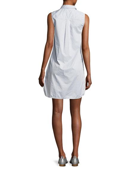Janna Striped Poplin Sleeveless Shirtdress, Blue/White