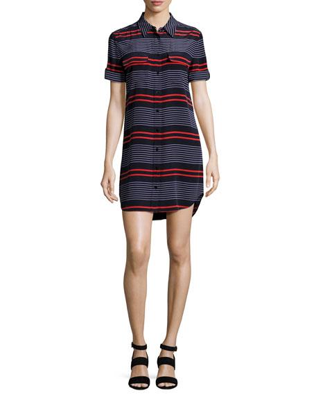 Short-Sleeve Slim Signature Striped Shirtdress, Blue/Red