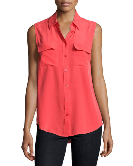 Sleeveless Slim Signature Shirt, Bright Red