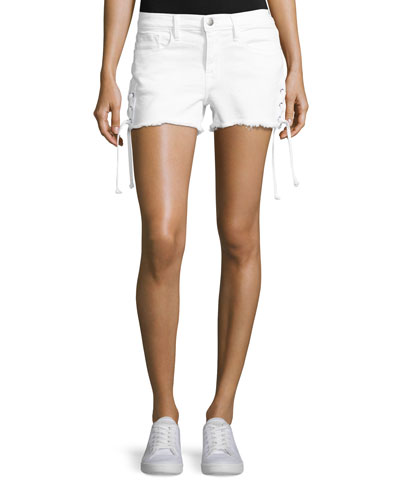 Le Cutoff Lace-Up Denim Shorts, Blanc