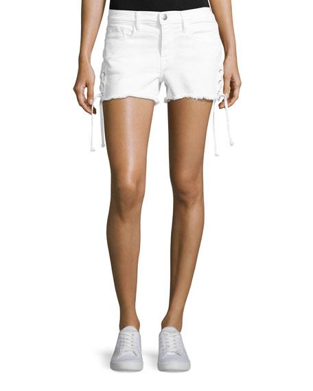 Le Cutoff Lace-Up Denim Shorts, Blanc