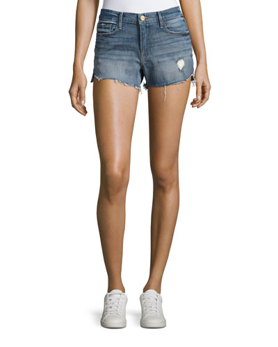 Le Cut Off Tulip-Hem Denim Shorts, Valle