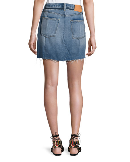 Nouveau Le Mini Mix Denim Skirt, Bristol