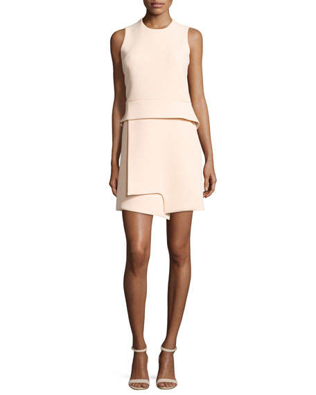 Sleeveless Notched Crepe Peplum Dress, Beige