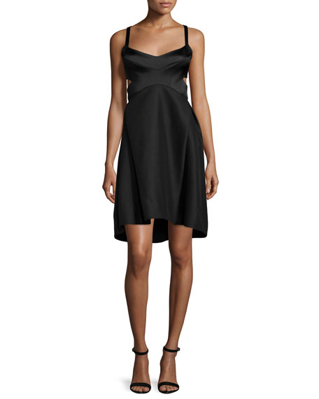 Halston Heritage Sleeveless Sweetheart-Neck Dress, Black