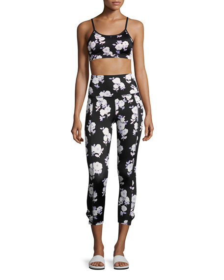 x kate spade new york luxe floral cinched side-bow leggings, black