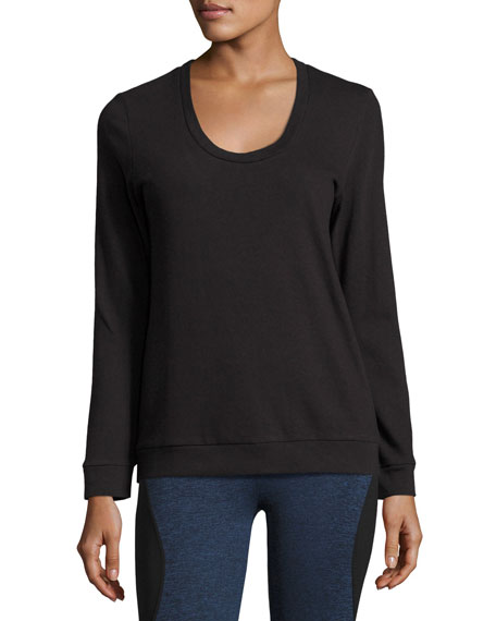Lanston Strappy-Back Long-Sleeve Performance Pullover, Black