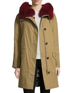 Classic Parka Coat w/Reversible Camo Fur Lining, Multi