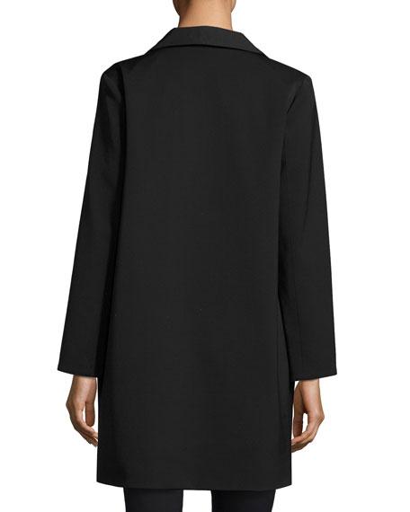 Wool-Bend Four-Button Coat, Black