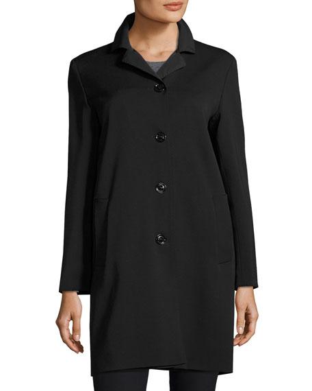 Cinzia Rocca Wool-Bend Four-Button Coat, Black