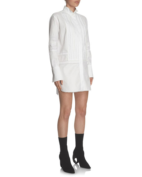 Short Pintucked Cotton Shirtdress, White
