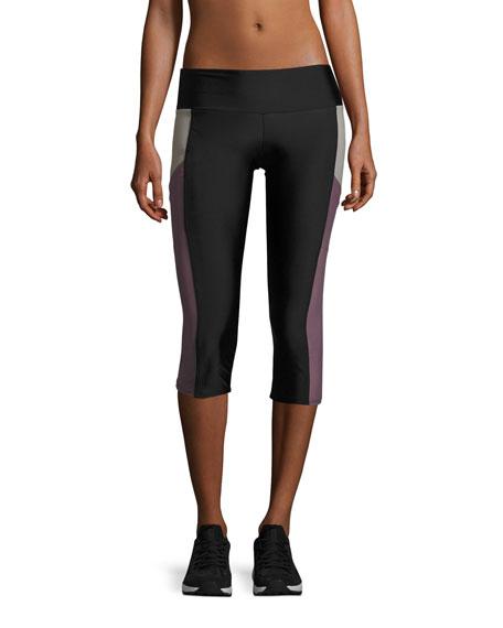 Pocket Capri Performance Leggings, Black/Purple