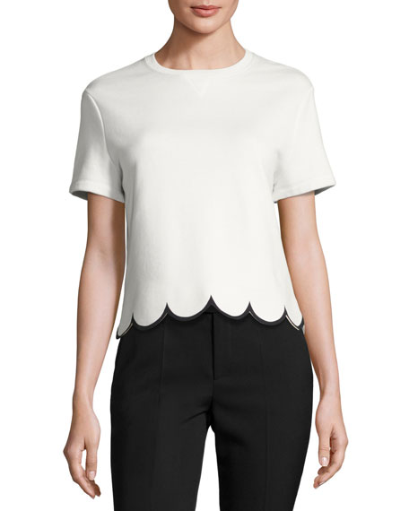 Short-Sleeve Cotton Tee w/ Scalloped Hem, White