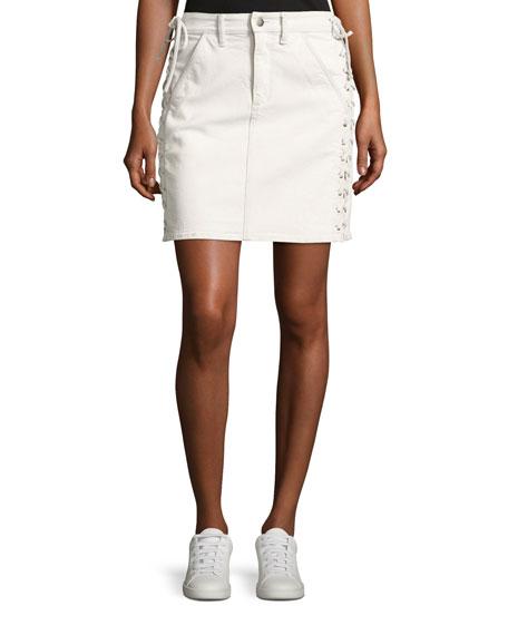 A.L.C. Ringo Laced Denim Skirt, White