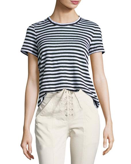 A.L.C. Tesi Striped Linen Tee, Black/White