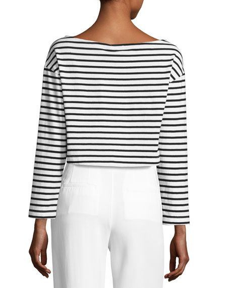 Audrie Long-Sleeve Striped Crop Boxy Tee, Black