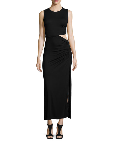 A.L.C. Jaxon Sleeveless Ruched Cutout Maxi Dress, Black