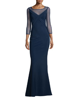 3/4-Sleeve Cross-Front Ponte Illusion Gown, Blue Notte
