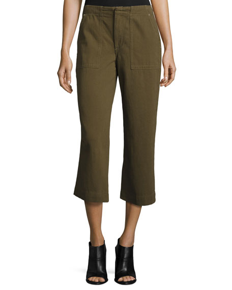 rag & bone/JEAN Denny Cropped Wide-Leg Pants, Army