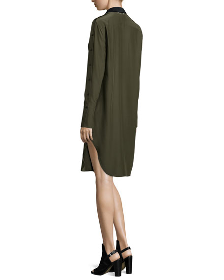 Leighton Long-Sleeve Silk Shirtdress, Army