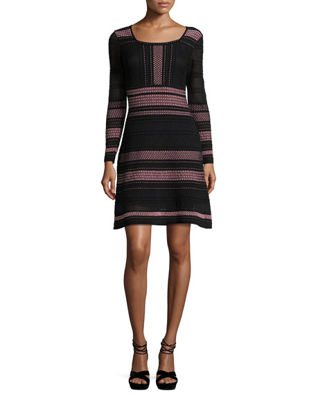 M Missoni Long-Sleeve Striped Rib-Stitched Mesh-Knit Dress, Petal