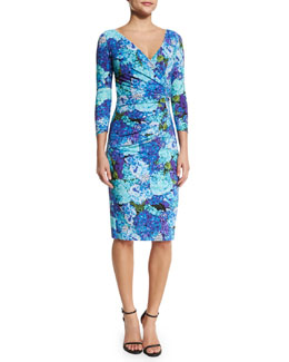 Sania 3/4-Sleeve Ruched Floral-Print Cocktail Dress