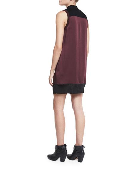 Vivienne Chiffon Colorblock Shift Dress, Port