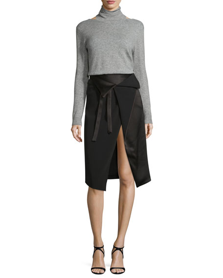 Halston Heritage Long-Sleeve Mock-Neck Sweater w/ Cutouts,
