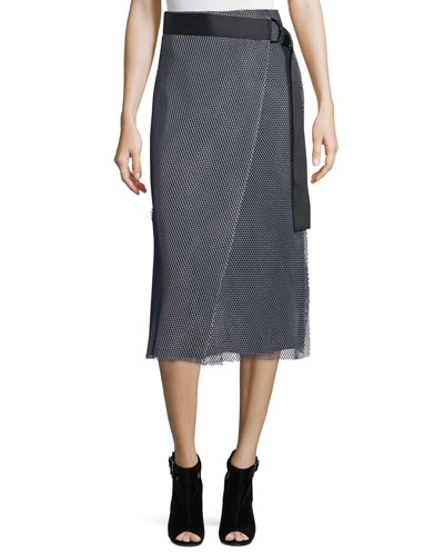Nora Mesh Wrap Skirt, Navy