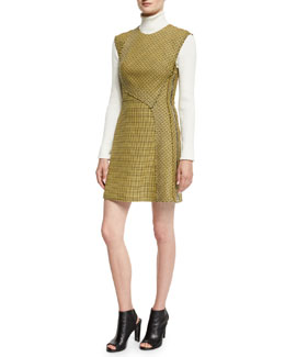 Sleeveless Plaid Trapunto Mini Dress