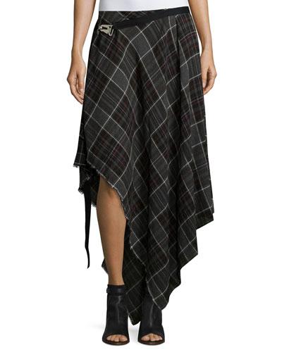 Danen Asymmetric Plaid Skirt, Gray