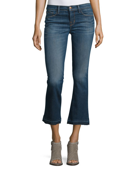 Selena Cropped Boot-Cut Jeans, Blue