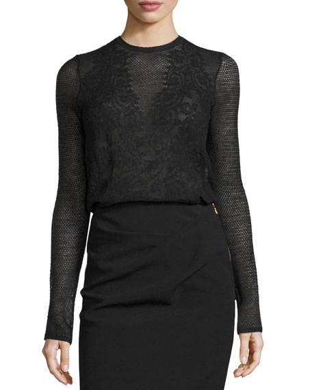 Long-Sleeve Mesh Lace Mock-Neck Top