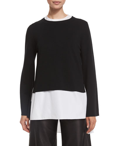 Double-Faced Bell-Sleeve Top, Black