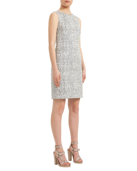 Akris punto Cross-Stitch Printed Jacquard Sheath Dress,