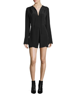 Long-Sleeve Split-Neck Romper