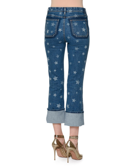 Star-Print Deep-Cuff Cropped Jeans, Light Blue Denim
